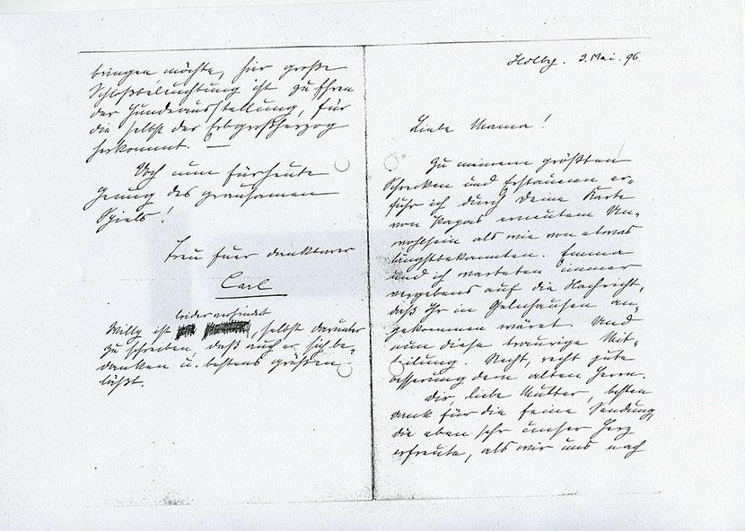 Brief von Carl Heinrich Becker vom 2.5.1896