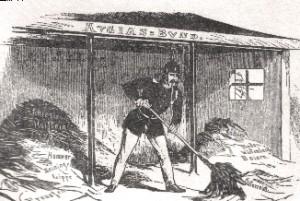 Bismarck als preußischer Herkules mit Pickelhaube reinigt den Augiasstall des Deutschen Bundes. Karikatur im Wiener Zeitgeist (?)