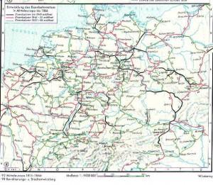 Der Ausbau des Eisenbahnnetzes in Deutschland bis 1866. Putzger S. 96, 103. Auflage von 1993
