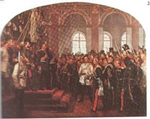 Die Kaiserproklamation von Versailles. Gemälde Anton von Werners aus der Ruhmeshalle des Berliner Zeughauses. 19021