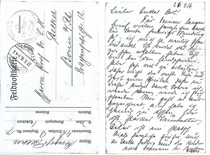 Feldpostkarte des Kriegsfreiwilligen Harry Becker an seinen Onkel C.H.B. 27.3.1916