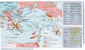 Osmanisches Reich im Ersten Weltkrieg, aus: dtv-Atlas zur Weltgeschichte Band 2, S. 404
