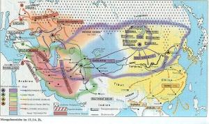 dtv-Atlas Weltgeschichte Bd. 1, S. 178 zeigt, wie die Mongolen den Mittleren Osten überrollten, aber auch China!