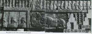 Reliefs von der berümten Apadana-Treppe in Persepolis (Prospekt 1971)