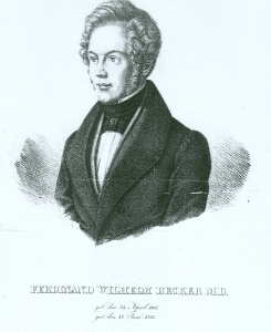 Holzstich Ferdinand Wilhelm Becker mit Lebensdaten