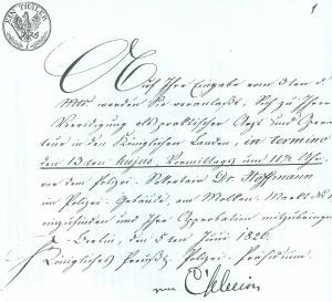Vorladung zur Vereidigung als praktischer Arzt und Operateur in Berlin am 5.6.1826