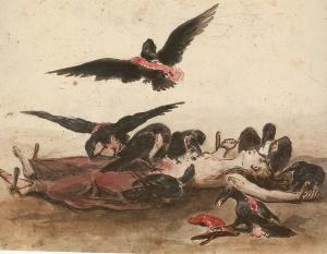 La France livrée aux corbeaux de toute espèce (1831) Frankreich, den Raben aller Art ausgeliefert. Karikatur von J.J. Grandville. Wilhelm-Busch-Museum Hannover