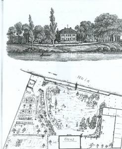 Haus und Park am Linsenberg in Offenbach. Zeichnung von Minna Becker-Pansch. Aufnahme von 1995