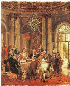 Adolf von Menzel 1815-1905, König Friedrichs II. Tafelrunde in Sanssouci, 1848 Öl über Federzeichnung. Nationalgalerie Berlin Mit Sicherheit wurde an dieser Tafelrunde nur Französisch gesprochen; oft waren seine Gäste sogar Franzosen.